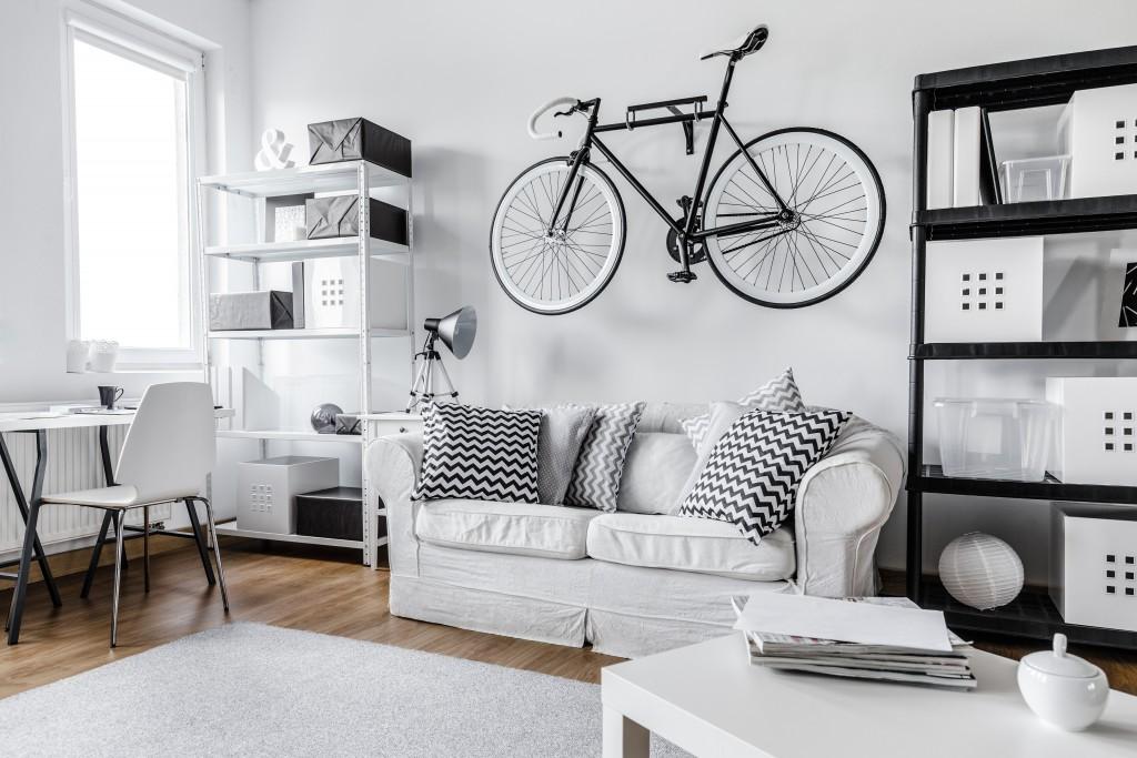 white themed men's bedroom