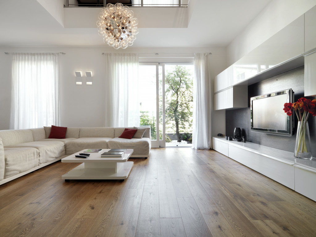 modern living room with wood flooring