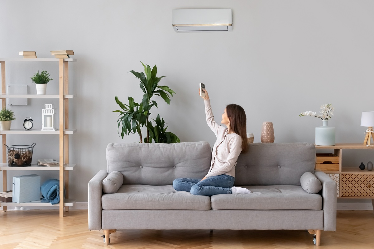 woman using aircon