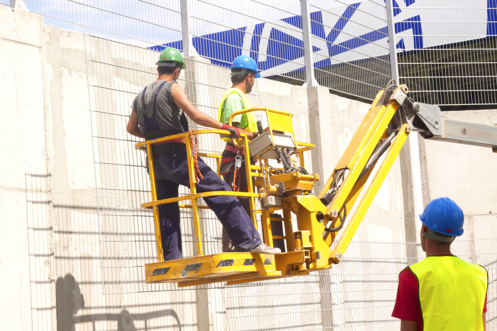 Construction crew on a platform
