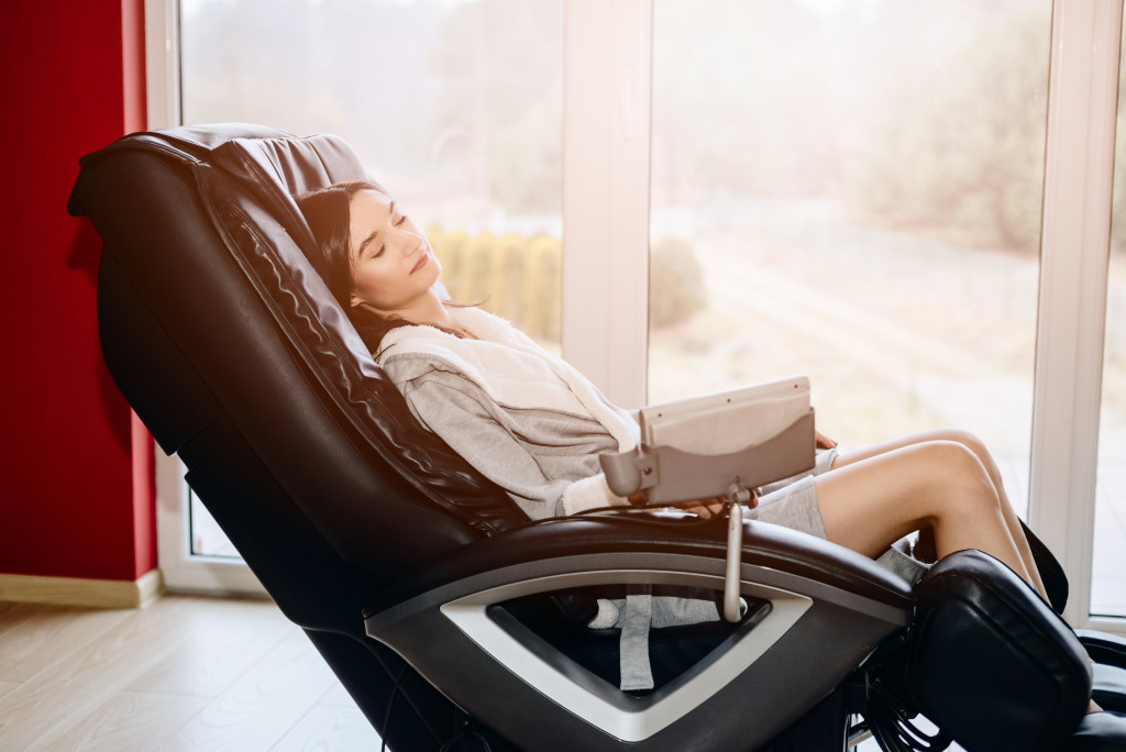 woman in massage chair