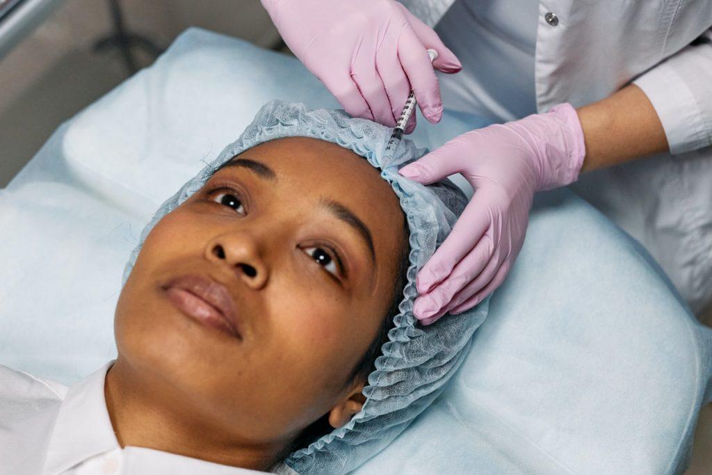woman having a dermal filler procedure